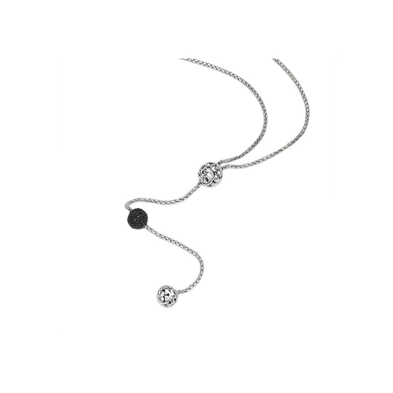 Charles Krypell Sterling Silver Lariat Necklace with Black Sapphires