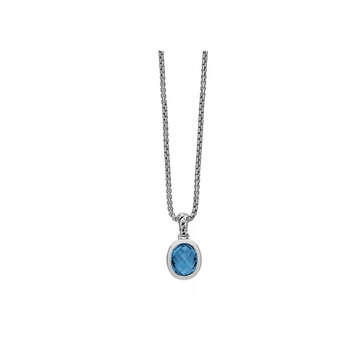Charles Krypell Oval Blue Topaz Pendant Necklace