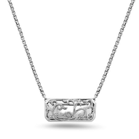 Charles Krypell Silver Rectangular Ivy Lace Necklace
