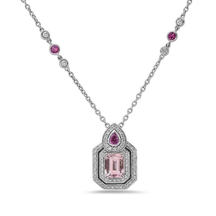 Charles Krypell Morganite, Pink Sapphire, and Diamond Necklace