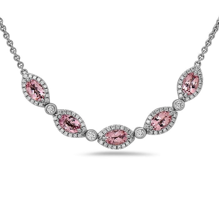 Charles Krypell Oval Morganite and Diamond Necklace