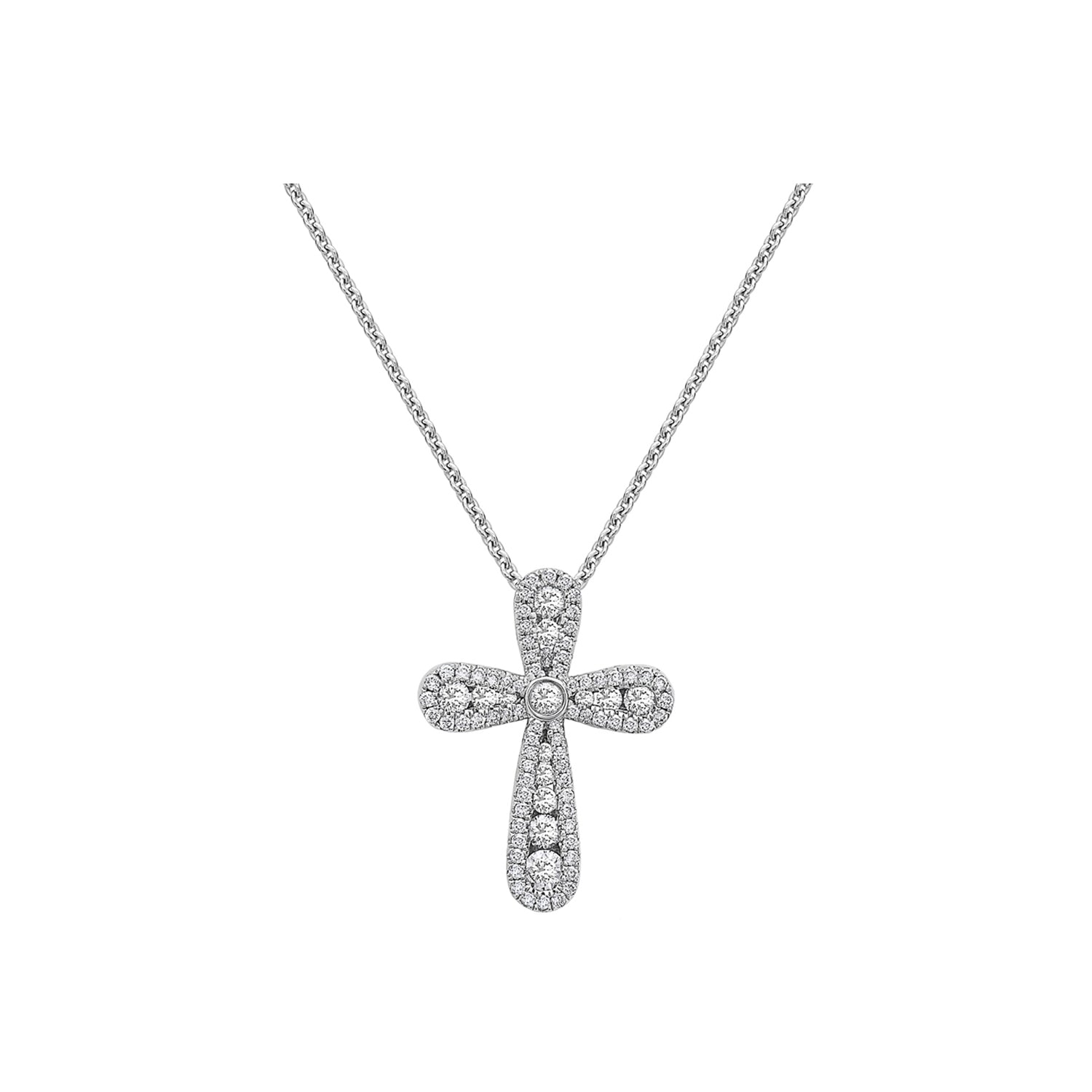 Charles Krypell 18k White Gold Precious Pastel Cross Necklace