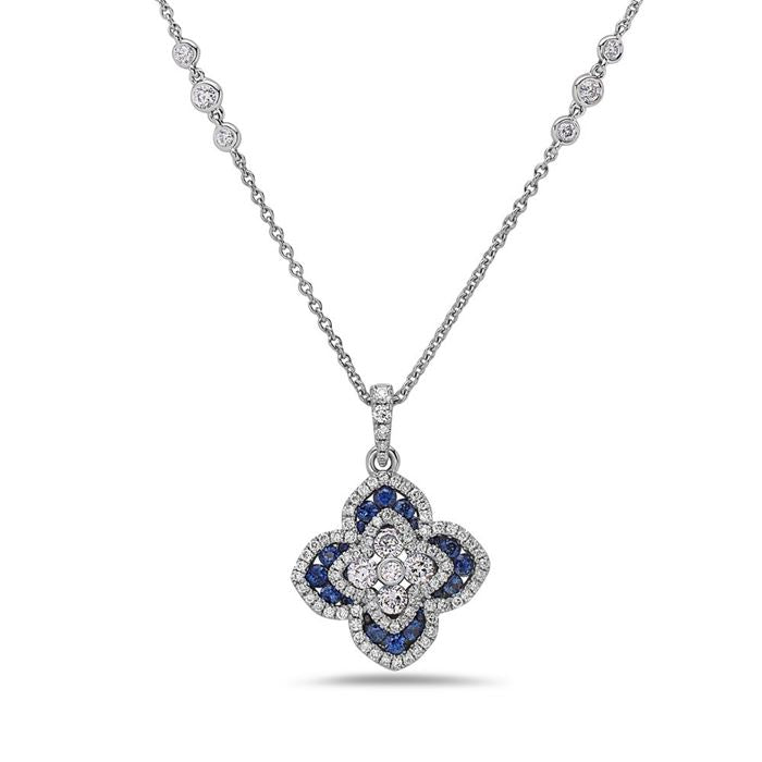 Charles Krypell Blue Sapphire and Diamond Clover Shaped Necklace