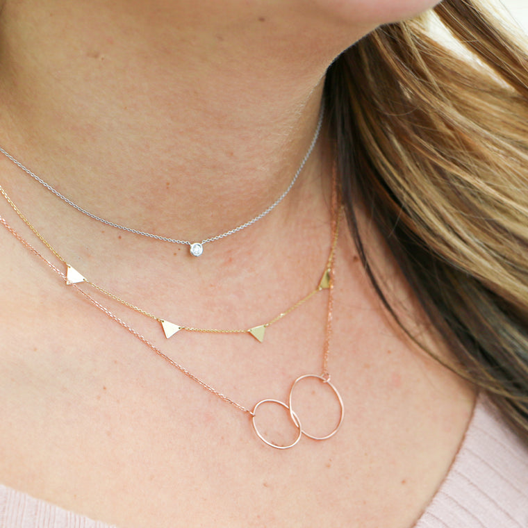 Hand Made 14k Rose Gold Interlocking Circle Necklace
