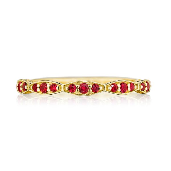 Tacori Sculpted Crescent 18k Yellow Gold Fluted Wedding Band with Rubies