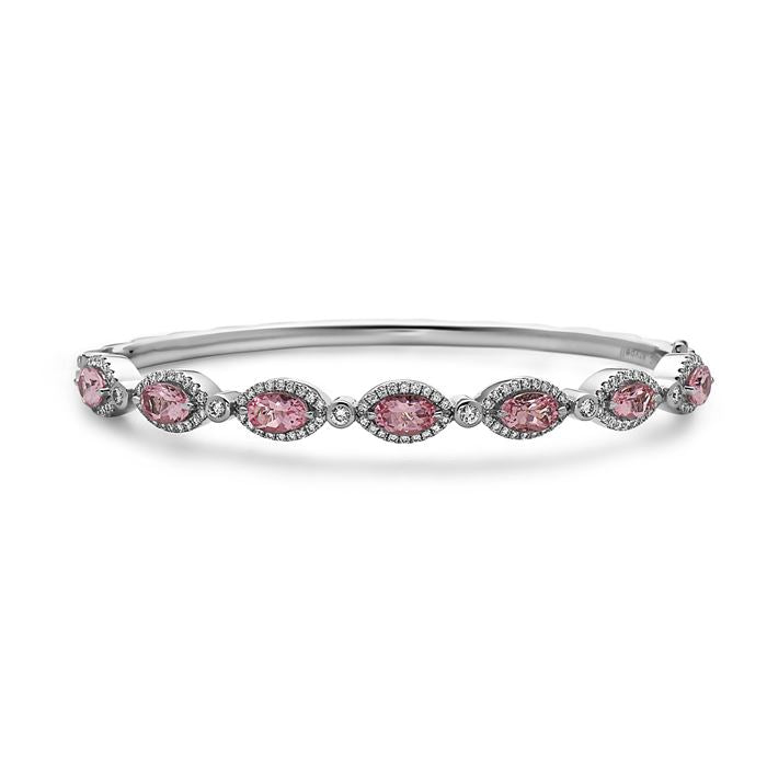 Charles Krypell Morganite and Diamond Bangle Bracelet