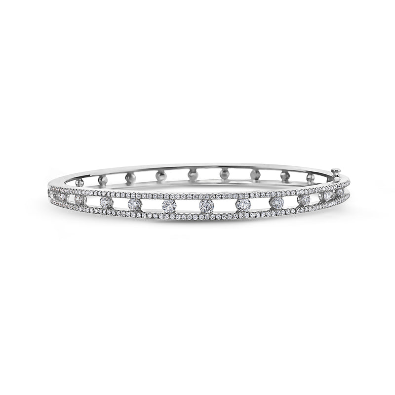 Charles Krypell Precious Pastel White Gold and Diamond Bangle Bracelet