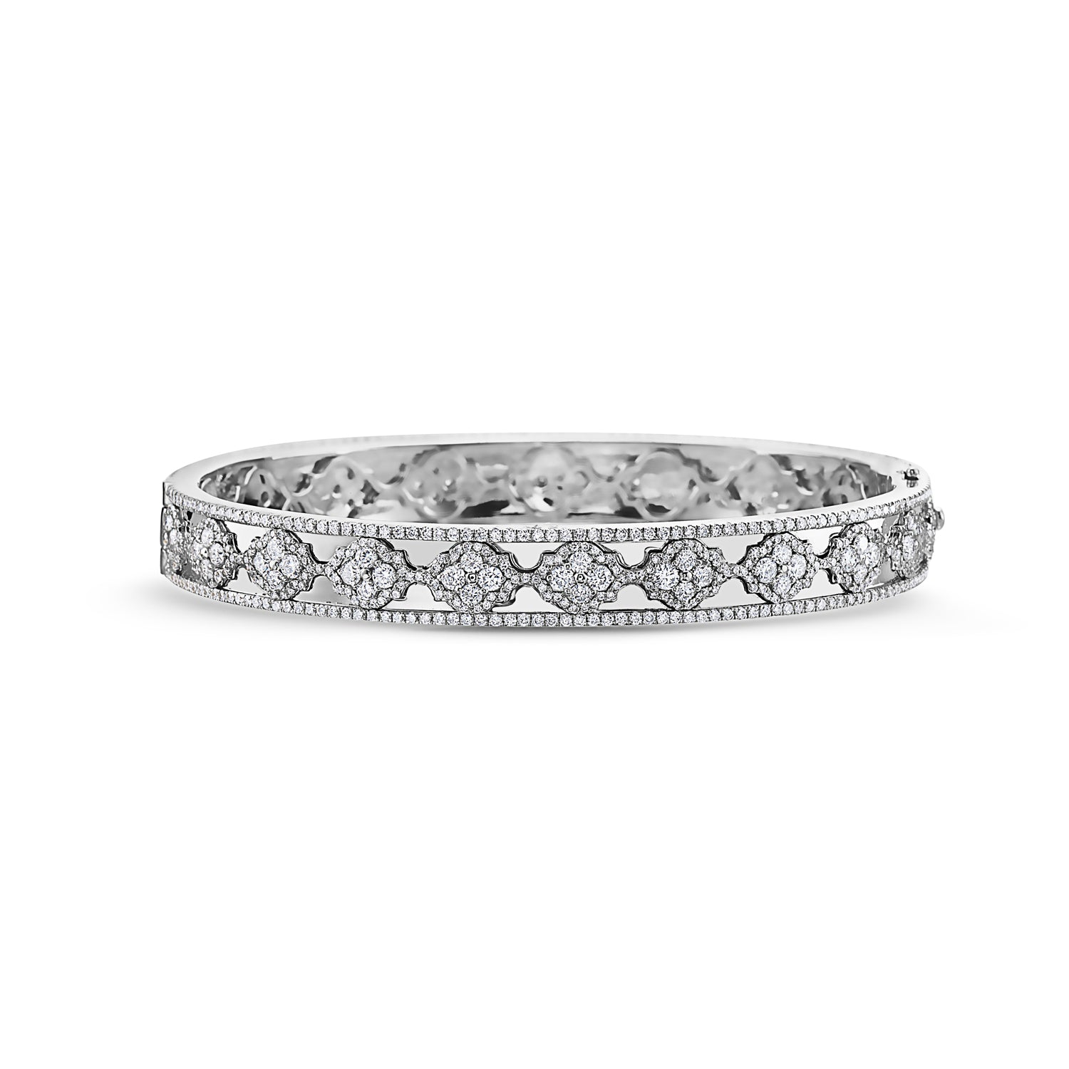 Charles Krypell Precious Pastel White Gold Bangle Bracelet with Diamonds