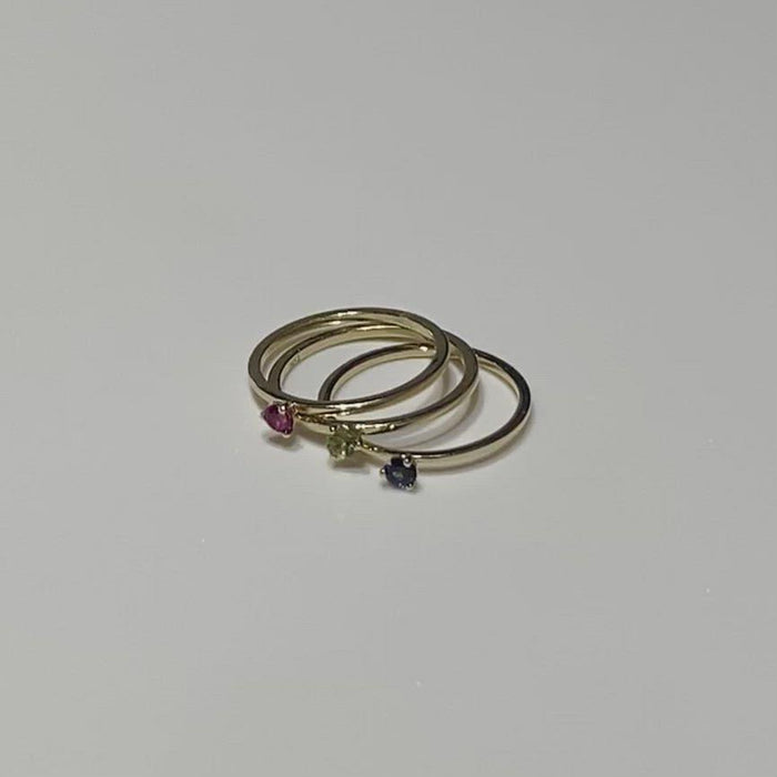 Hand Made August Birthstone and 14k Yellow Gold Stacking Ring