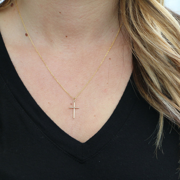 Hand Made Small 14k Yellow Gold Cross Pendant