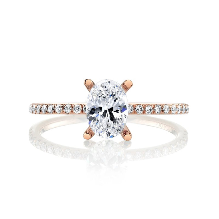 MARS Dainty 14k Rose Gold Oval Semi-Mount Engagement Ring