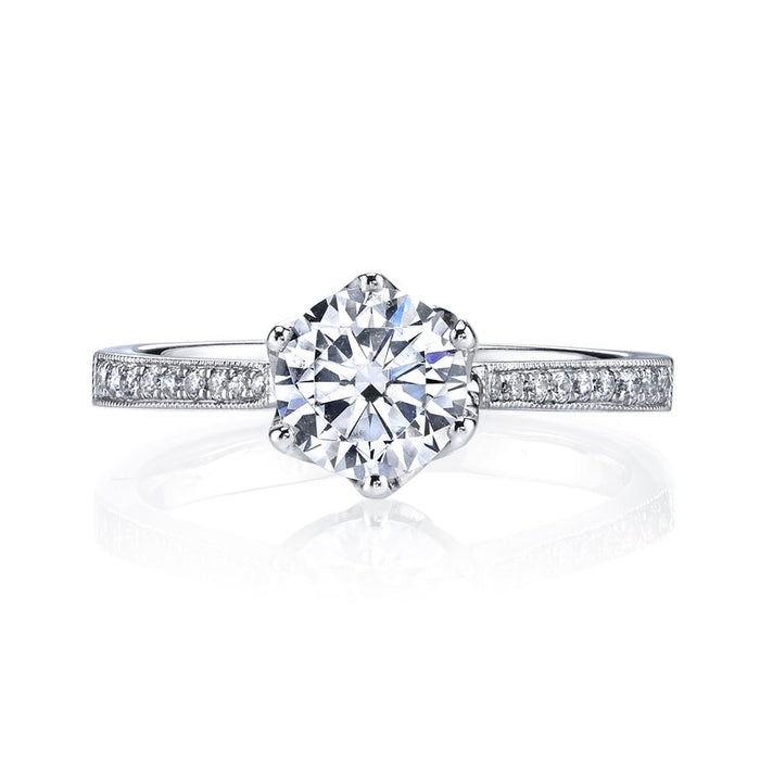 MARS 14k White Gold Petal Crown Motif Engagement Ring