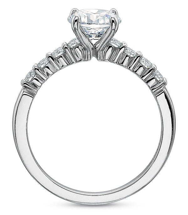 Precision Set Classic Shared Prong Semi Mount Engagement Ring