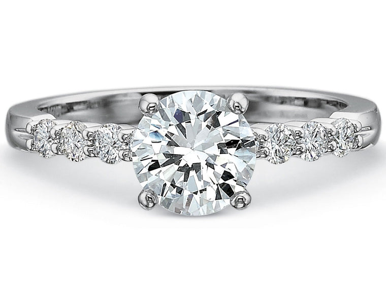 Precision Set 14k White Gold Engagement Ring with .76 Diamonds