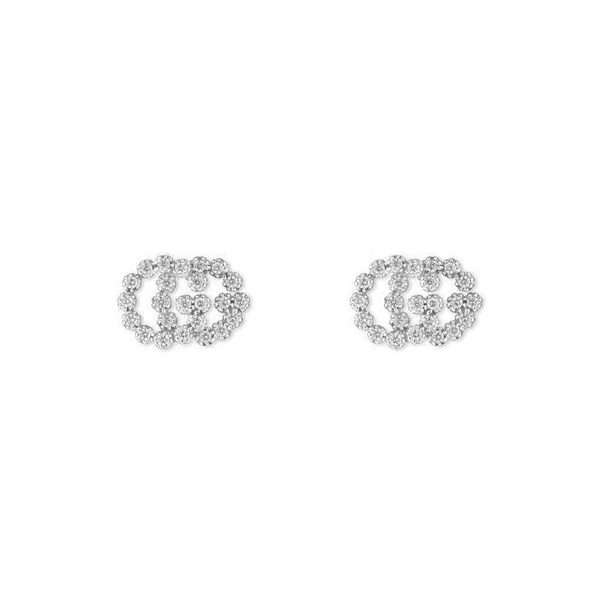 Gucci Running G 18k White Gold and Diamond Stud Earrings