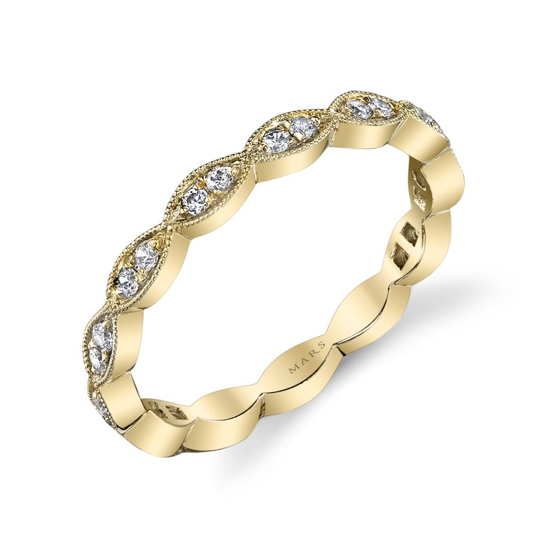 MARS Scalloped 14k Yellow Gold Stackable Wedding Band