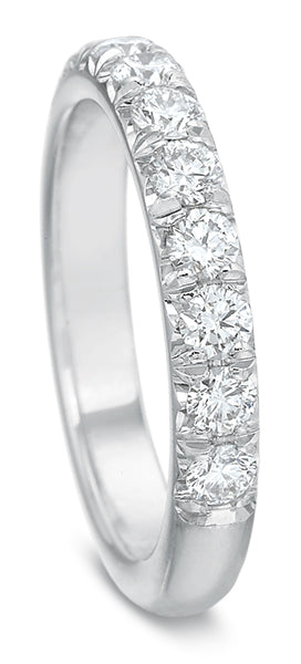 Precision Set 14k White Gold French Cut Wedding Band with Diamonds