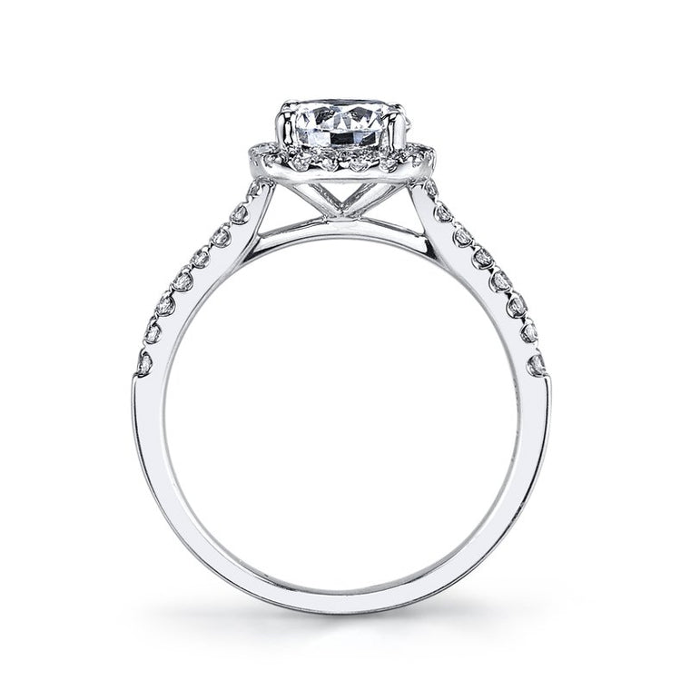 MARS 14k White Gold Cushion Halo Engagement Ring