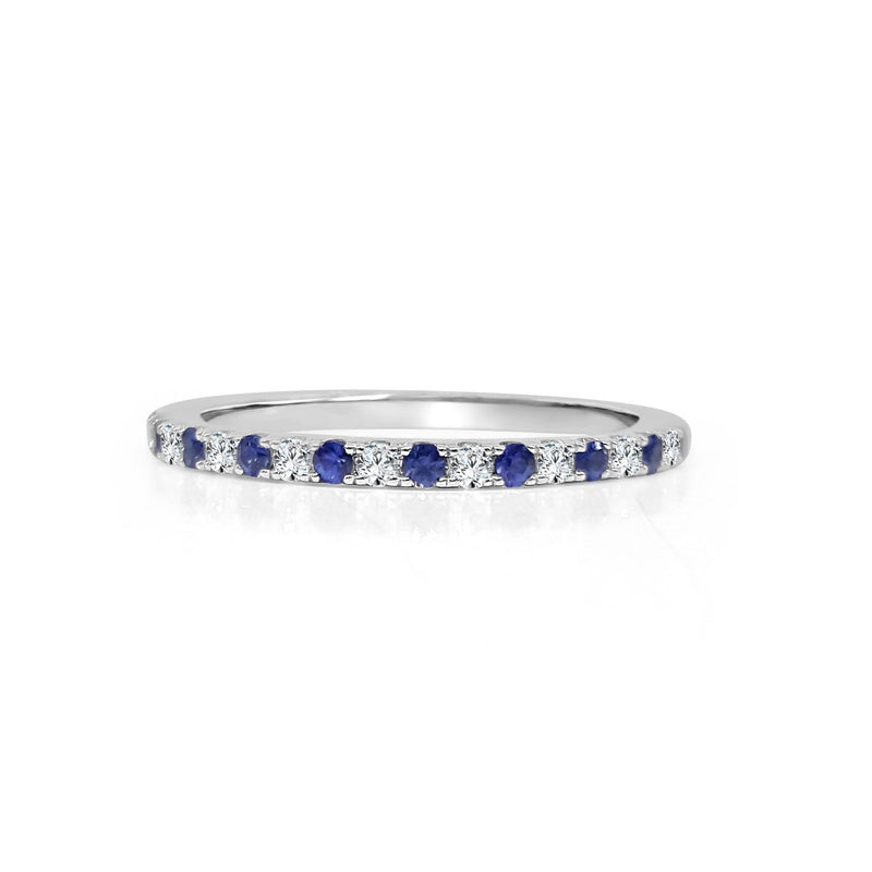 FANA 14k White Gold Wedding Band with Diamonds and Sapphires