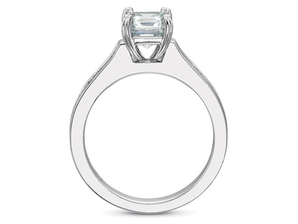 Precision Set Petite FlushFit Engagement Ring With Asscher Cut Diamonds