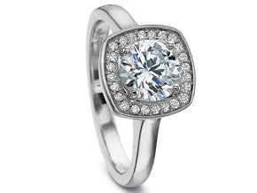 Precision Set Petite FlushFit Diamond Cushion Pavé Top Engagement Ring