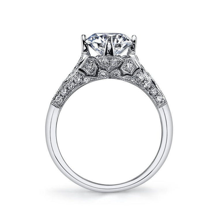 MARS 14k White Gold Vintage-Inspired Engagement Ring