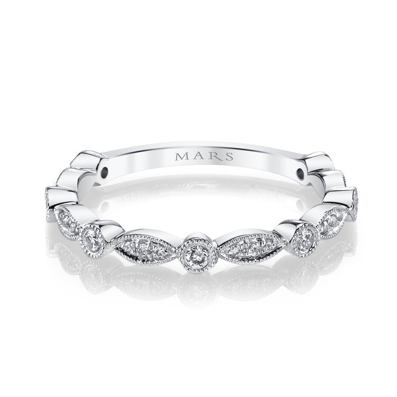 MARS 14k White Gold Scalloped Diamond Wedding Band
