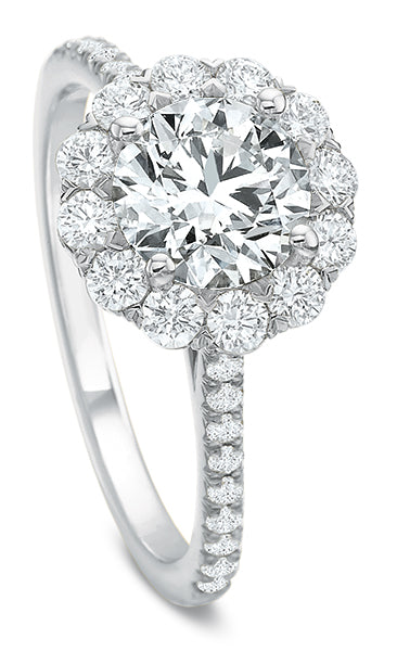Precision Set FlushFit Diamond Halo Engagement Ring