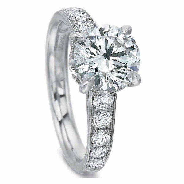 Precision Set FlushFit Tapered Diamond Beadset Engagement Ring