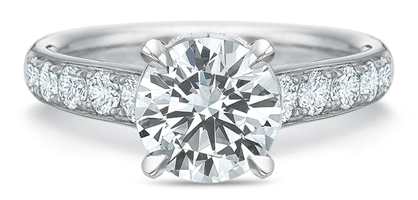 Precision Set FlushFit Engagement Ring with Side Diamonds