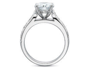 Precision Set Couture FlushFit Diamond Engagement Ring With Lattice And Milgrain