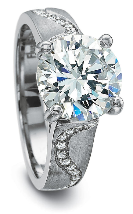 Precision Set 5mm Ribbon Matte Diamond Engagement Ring