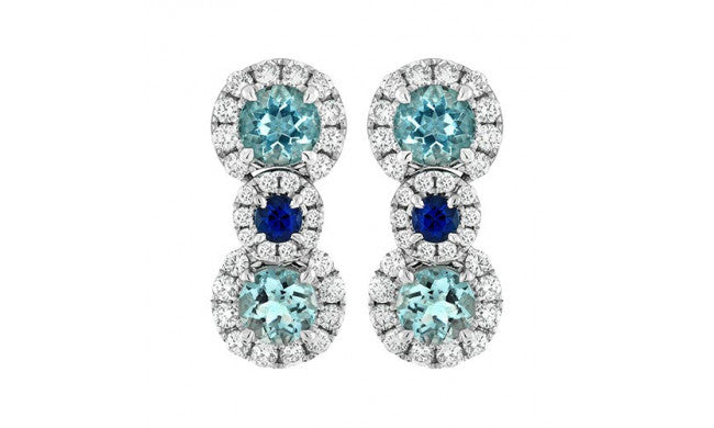 Charles Krypell Aquamarine, Sapphire, and Diamond Stud Earrings