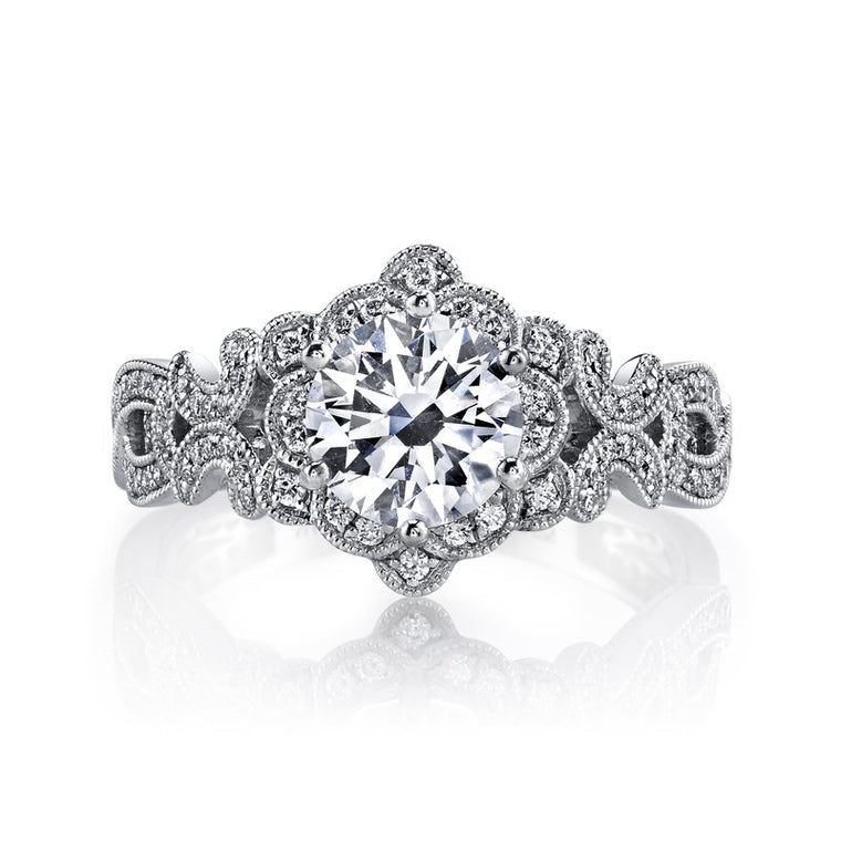 MARS 14k White Gold Vintage Floral Motif Engagement Ring