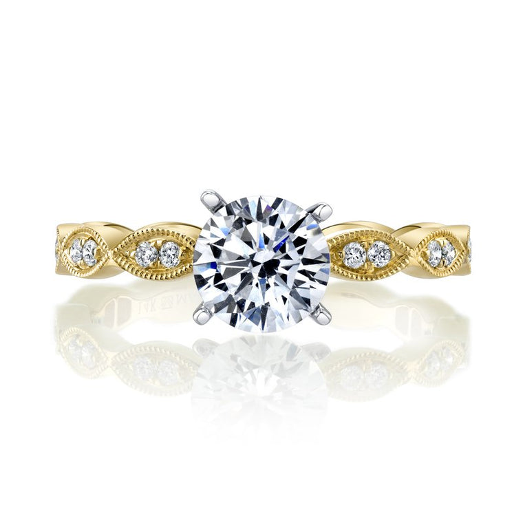 MARS 14k Yellow Gold Engagement Ring with Milgrain