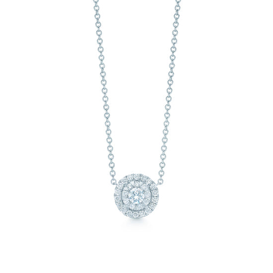 Kwiat Sunburst Circle Pendant Necklace in 18k White Gold