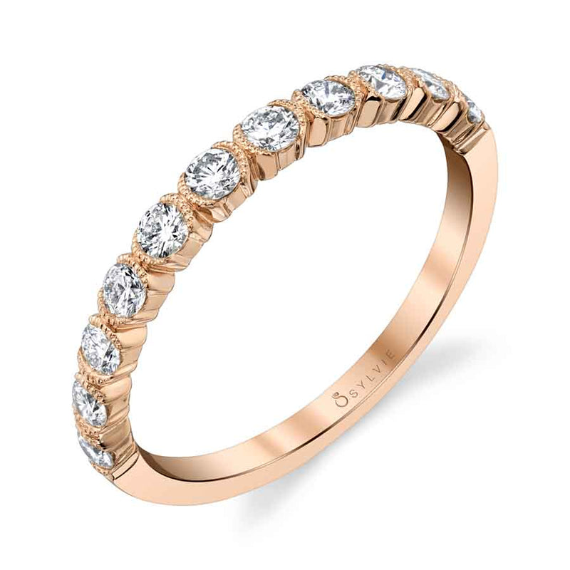 Sylvie Rose Gold Half-Bezel Wedding Band with Milgrain