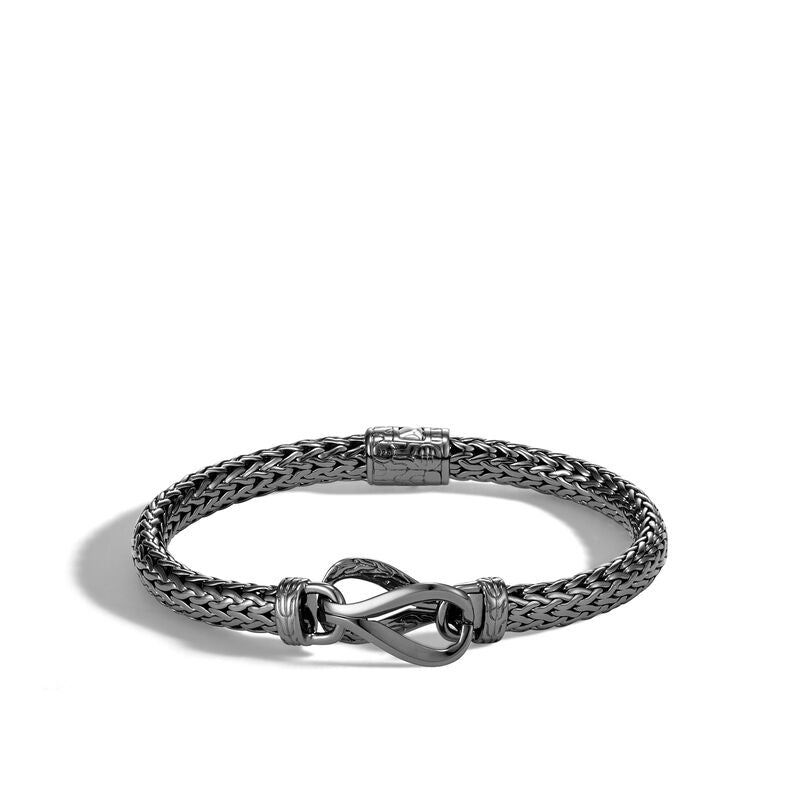 John Hardy Asli Classic Chain Link Station Bracelet with Black Rhodium