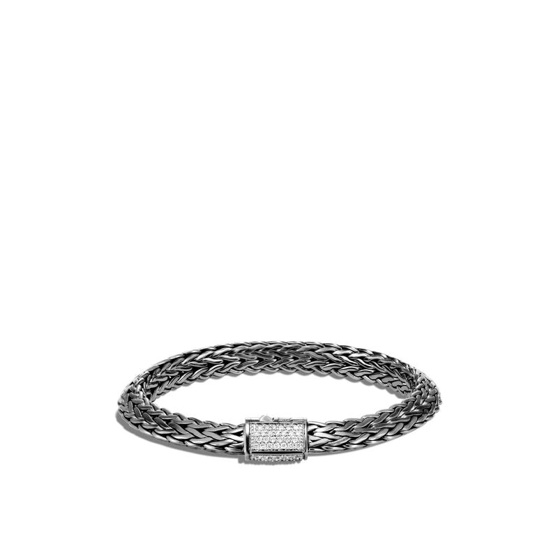 John Hardy Tiga Blackened Classic Chain Bracelet with Diamonds