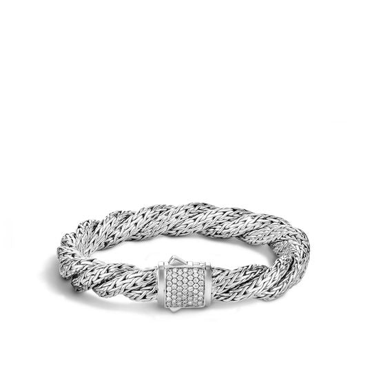 John Hardy Twisted Chain Bracelet with Diamonds