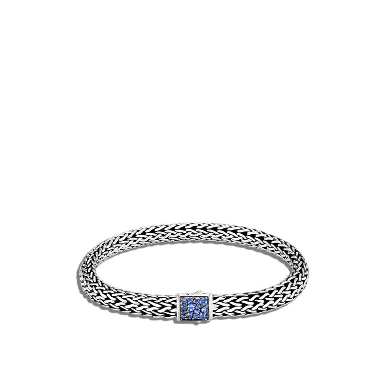 John Hardy Classic Chain 6.5mm Reversible Icon Bracelet w/ Blue Sapphire