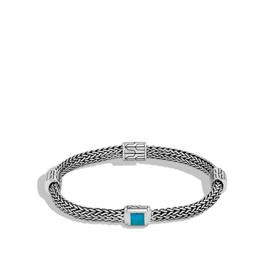 John Hardy Sterling Silver Classic Chain Bracelet with Turquoise