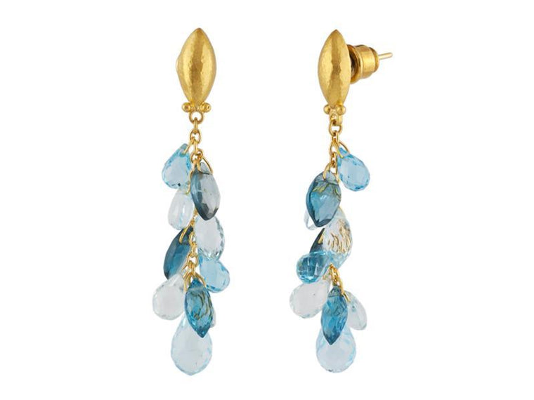 Gurhan Dew Drop Earrings with Blue Topaz and Aquamarine