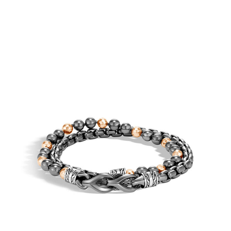 John Hardy Asli Chain Double Wrap Bracelet with Hematite and Bronze Beads
