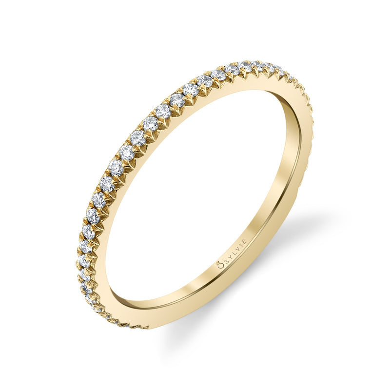 Sylvie 14k Yellow Gold Wedding Band with Diamonds