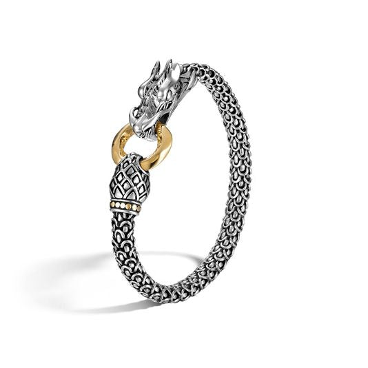 John Hardy Sterling Silver and 18k Yellow Gold Naga Station Bracelet