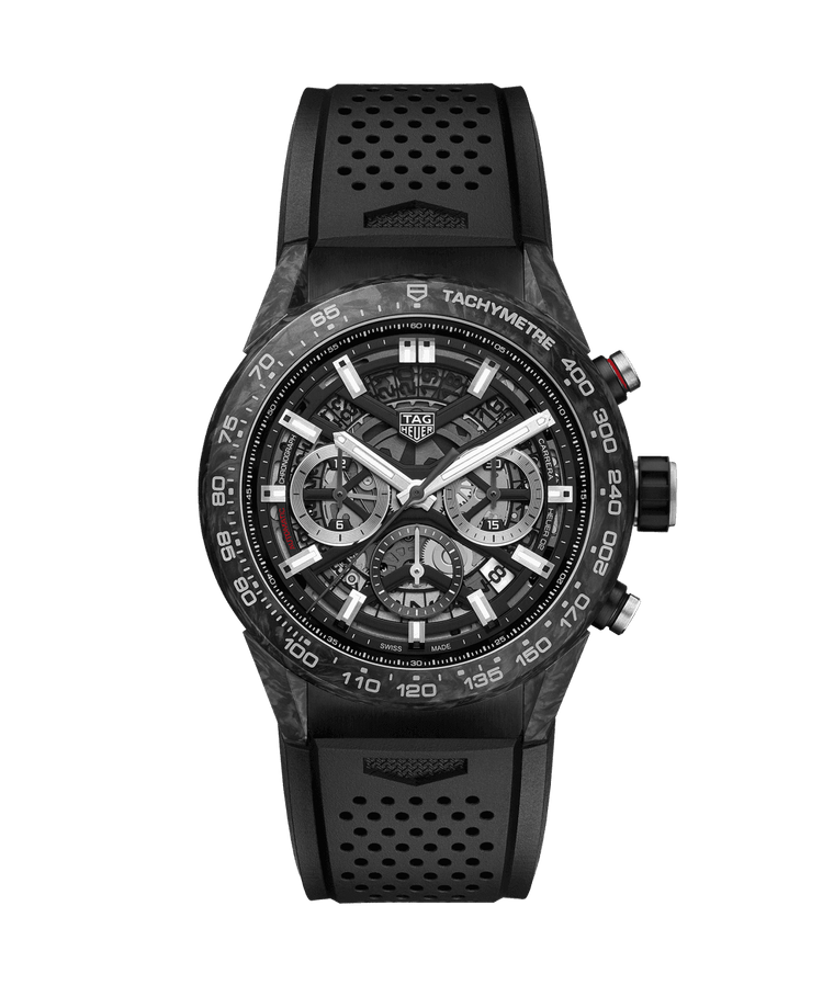 TAG Heuer Carrera Calibre Heuer 45mm Watch with Black Skeleton Dial