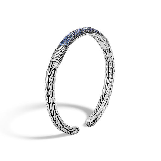 John Hardy Classic Chain Cuff with Blue Sapphire