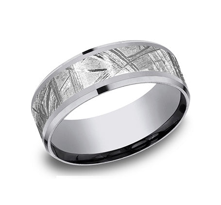 Benchmark Grey Tantalum and Meteorite Wedding Band