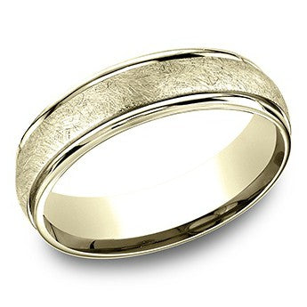 Benchmark 6mm Yellow Swirl Center Wedding Band
